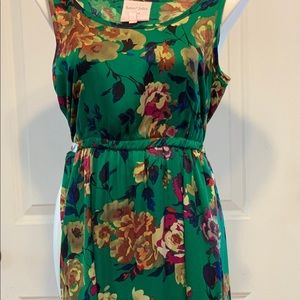 Green silk dress with floral print